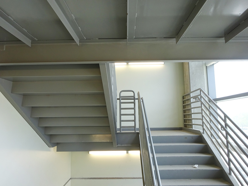 fabrication of steel emergency egress stairs for a hospital building - Building Stairs